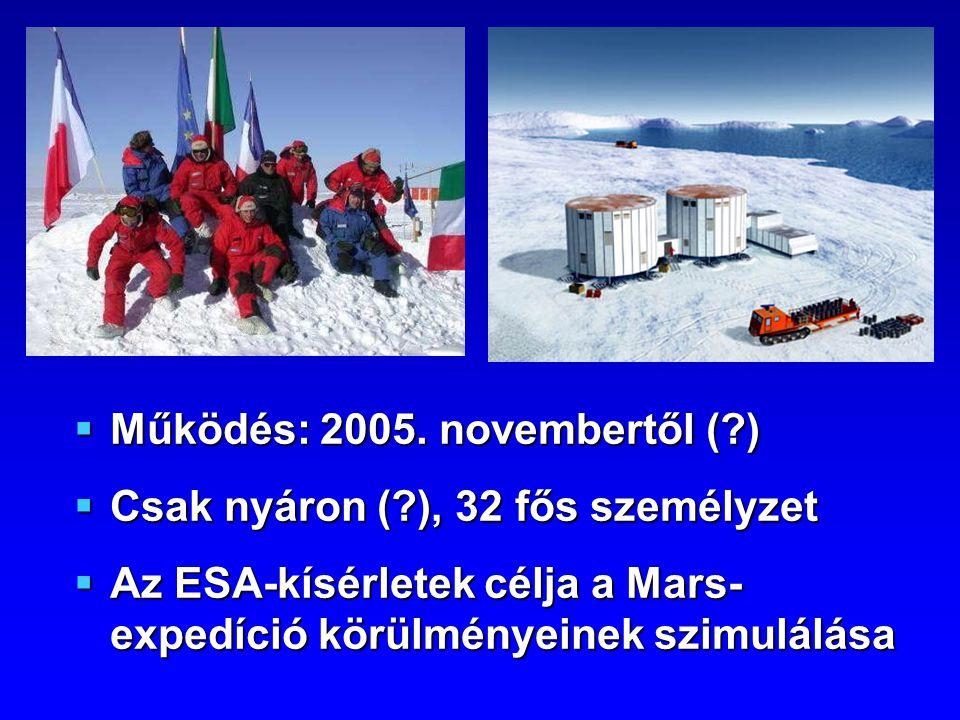 Működés: 2005. novembertől (?)  Csak nyáron (?), 32 fős személyzet  Az ESA-kísérletek célja a Mars- expedíció körülményeinek szimulálása