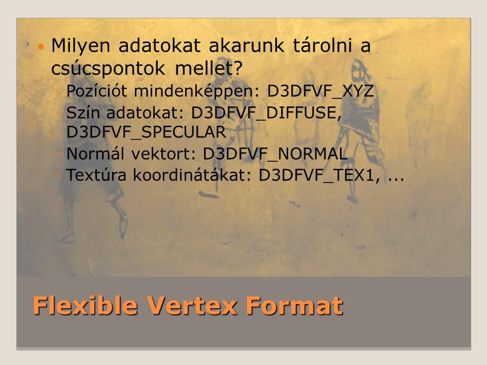 Flexible Vertex Format Milyen adatokat akarunk tárolni a csúcspontok mellet.