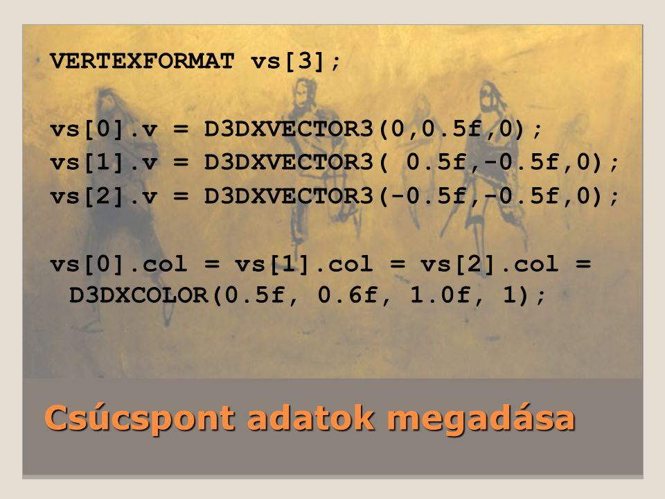 Csúcspont adatok megadása VERTEXFORMAT vs[3]; vs[0].v = D3DXVECTOR3(0,0.5f,0); vs[1].v = D3DXVECTOR3( 0.5f,-0.5f,0); vs[2].v = D3DXVECTOR3(-0.5f,-0.5f,0); vs[0].col = vs[1].col = vs[2].col = D3DXCOLOR(0.5f, 0.6f, 1.0f, 1);