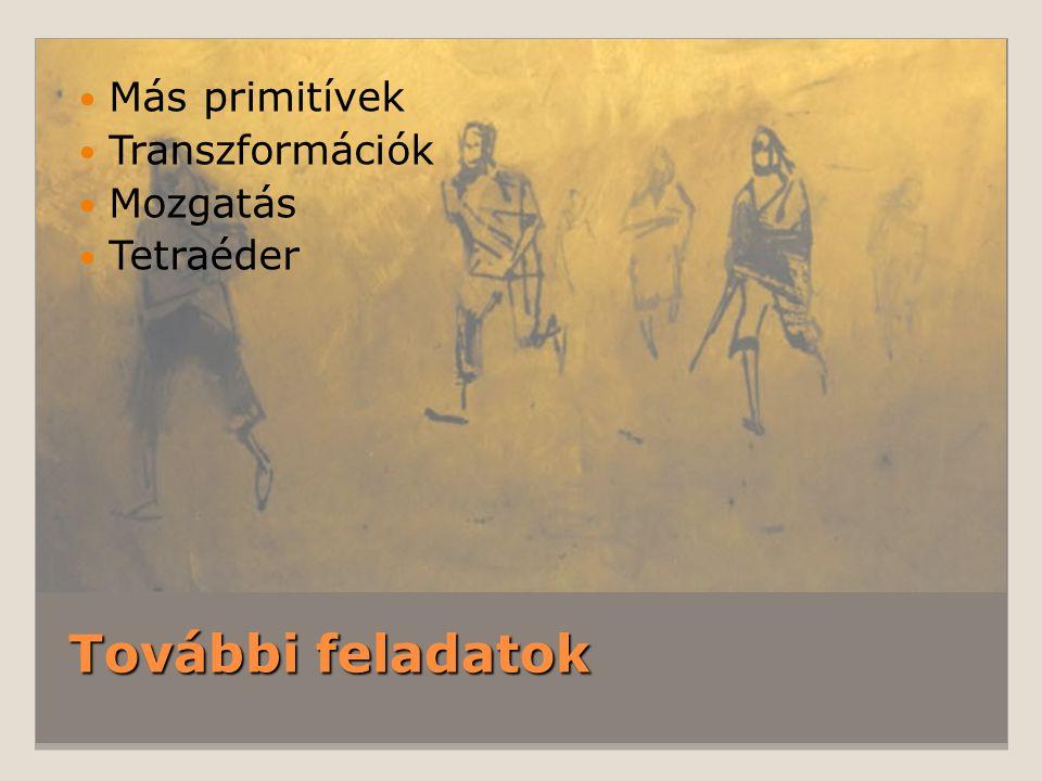 További feladatok Más primitívek Transzformációk Mozgatás Tetraéder