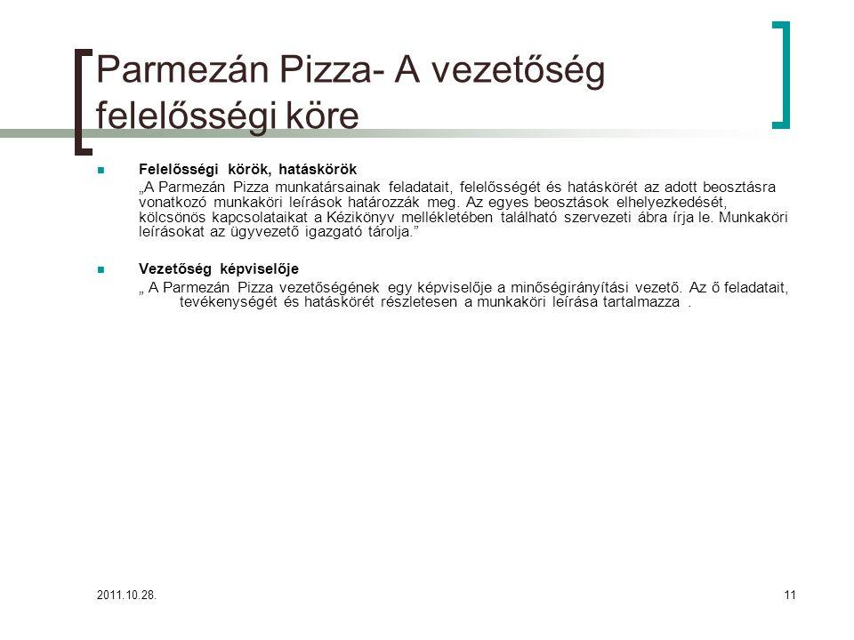 """2011.10.28.11 Parmezán Pizza- A vezetőség felelősségi köre Felelősségi körök, hatáskörök """"A Parmezán Pizza munkatársainak feladatait, felelősségét és hatáskörét az adott beosztásra vonatkozó munkaköri leírások határozzák meg."""