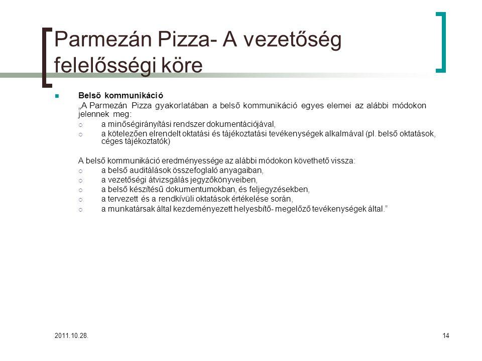 """2011.10.28.14 Parmezán Pizza- A vezetőség felelősségi köre Belső kommunikáció """"A Parmezán Pizza gyakorlatában a belső kommunikáció egyes elemei az alábbi módokon jelennek meg:  a minőségirányítási rendszer dokumentációjával,  a kötelezően elrendelt oktatási és tájékoztatási tevékenységek alkalmával (pl."""