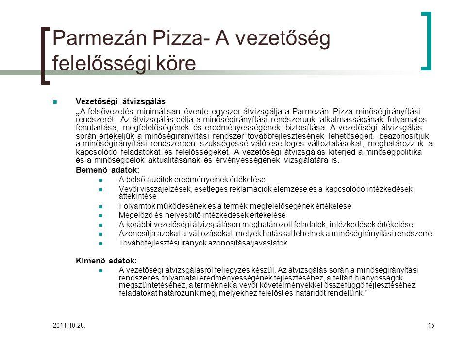 """2011.10.28.15 Parmezán Pizza- A vezetőség felelősségi köre Vezetőségi átvizsgálás """"A felsővezetés minimálisan évente egyszer átvizsgálja a Parmezán Pizza minőségirányítási rendszerét."""