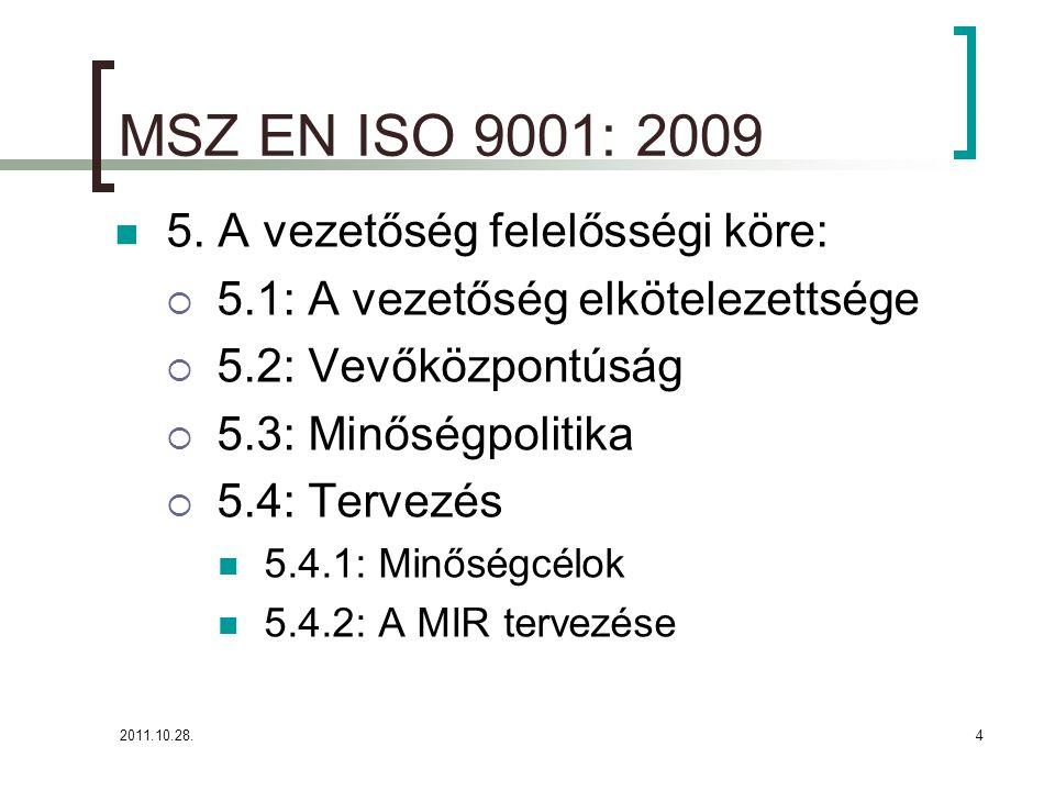 2011.10.28.4 MSZ EN ISO 9001: 2009 5. A vezetőség felelősségi köre:  5.1: A vezetőség elkötelezettsége  5.2: Vevőközpontúság  5.3: Minőségpolitika