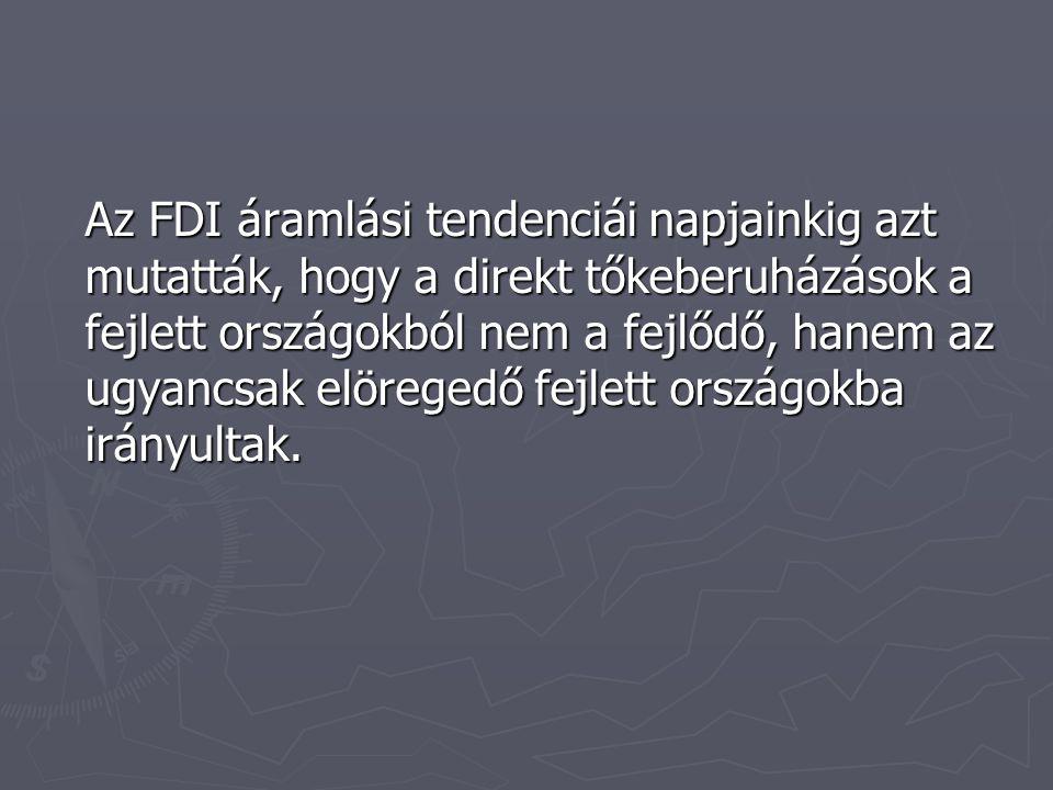 Az FDI áramlási tendenciái napjainkig azt mutatták, hogy a direkt tőkeberuházások a fejlett országokból nem a fejlődő, hanem az ugyancsak elöregedő fejlett országokba irányultak.