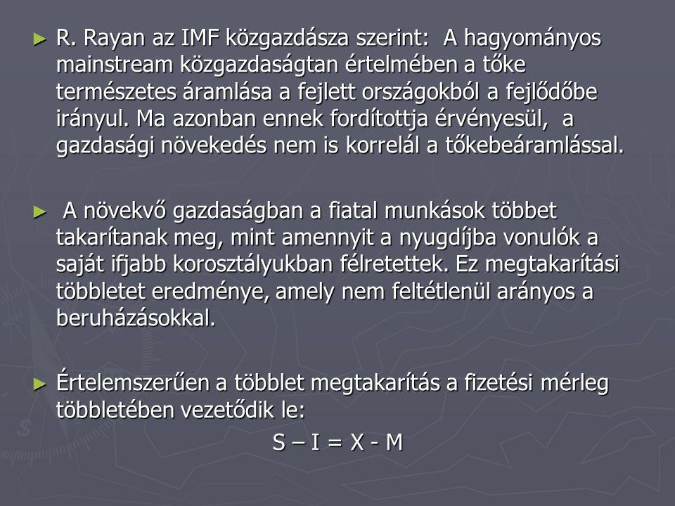 ► R. Rayan az IMF közgazdásza szerint: A hagyományos mainstream közgazdaságtan értelmében a tőke természetes áramlása a fejlett országokból a fejlődőb