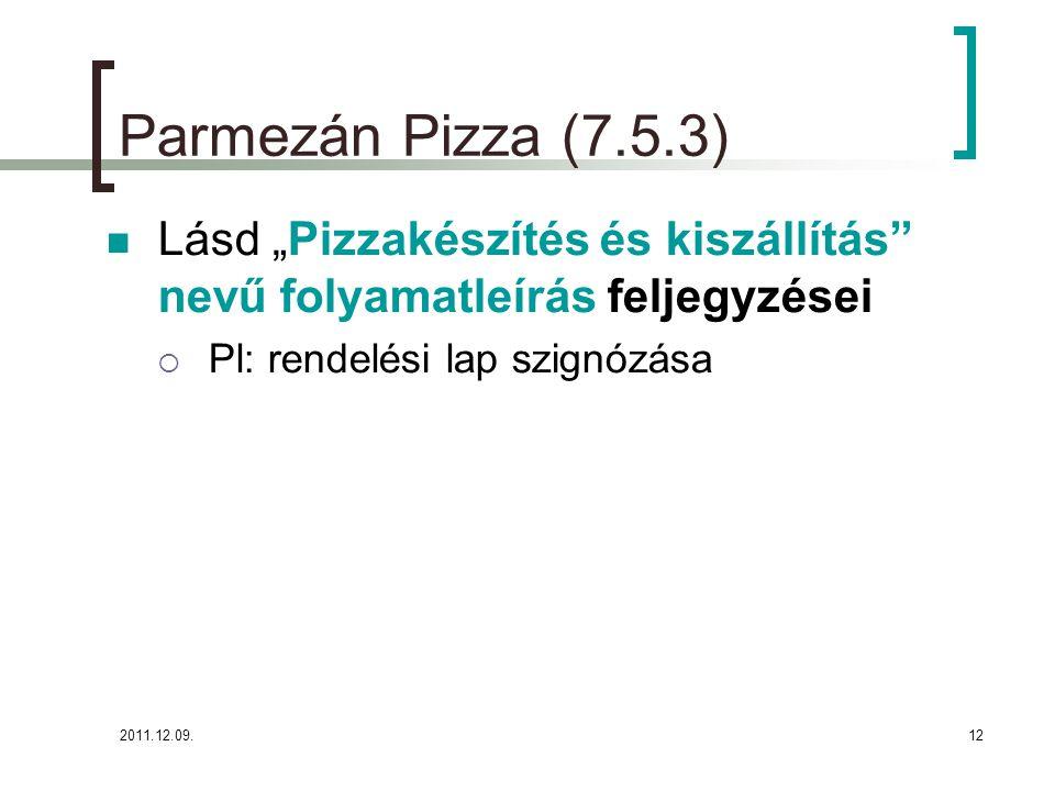 """2011.12.09.12 Parmezán Pizza (7.5.3) Lásd """"Pizzakészítés és kiszállítás"""" nevű folyamatleírás feljegyzései  Pl: rendelési lap szignózása"""