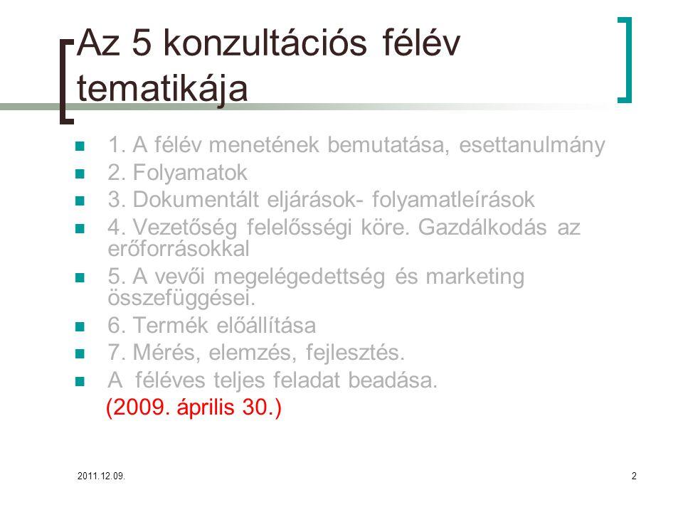 2011.12.09.2 Az 5 konzultációs félév tematikája 1. A félév menetének bemutatása, esettanulmány 2. Folyamatok 3. Dokumentált eljárások- folyamatleíráso