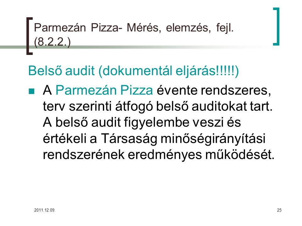 2011.12.09.25 Parmezán Pizza- Mérés, elemzés, fejl. (8.2.2.) Belső audit (dokumentál eljárás!!!!!) A Parmezán Pizza évente rendszeres, terv szerinti á