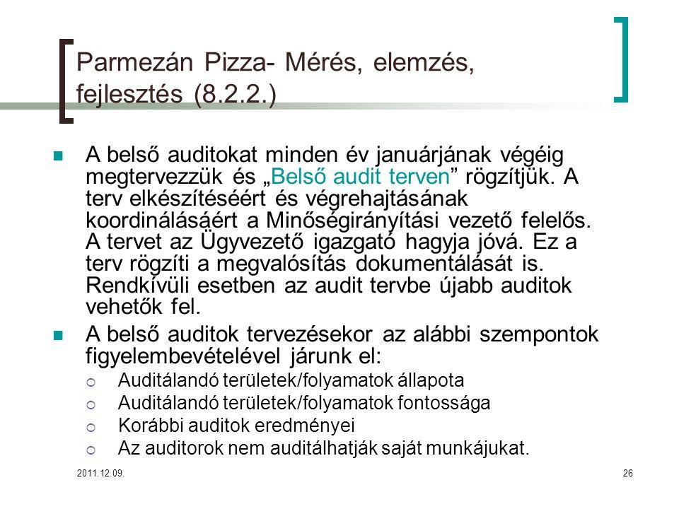 """2011.12.09.26 Parmezán Pizza- Mérés, elemzés, fejlesztés (8.2.2.) A belső auditokat minden év januárjának végéig megtervezzük és """"Belső audit terven"""""""