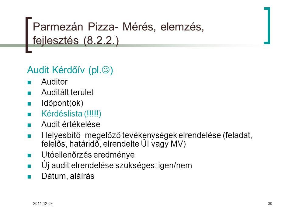 2011.12.09.30 Parmezán Pizza- Mérés, elemzés, fejlesztés (8.2.2.) Audit Kérdőív (pl. ) Auditor Auditált terület Időpont(ok) Kérdéslista (!!!!!) Audit