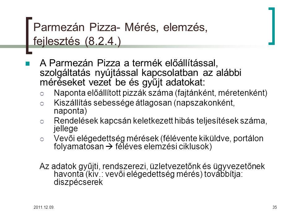 2011.12.09.35 Parmezán Pizza- Mérés, elemzés, fejlesztés (8.2.4.) A Parmezán Pizza a termék előállítással, szolgáltatás nyújtással kapcsolatban az alá