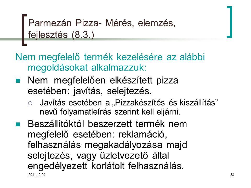 2011.12.09.38 Parmezán Pizza- Mérés, elemzés, fejlesztés (8.3.) Nem megfelelő termék kezelésére az alábbi megoldásokat alkalmazzuk: Nem megfelelően el