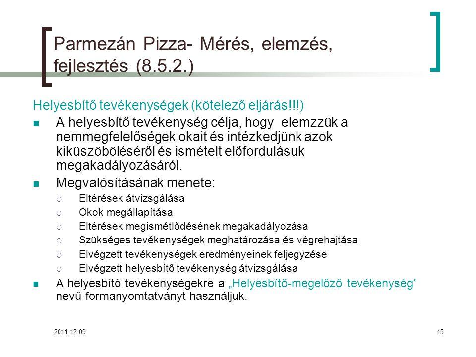2011.12.09.45 Parmezán Pizza- Mérés, elemzés, fejlesztés (8.5.2.) Helyesbítő tevékenységek (kötelező eljárás!!!) A helyesbítő tevékenység célja, hogy