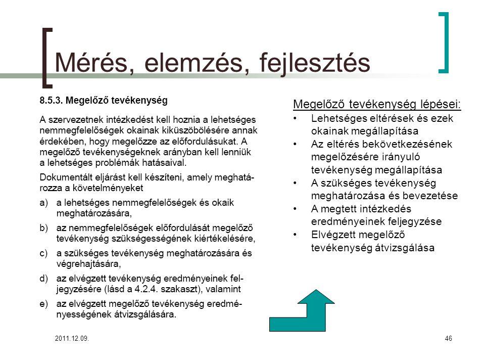2011.12.09.46 Mérés, elemzés, fejlesztés Megelőző tevékenység lépései: Lehetséges eltérések és ezek okainak megállapítása Az eltérés bekövetkezésének
