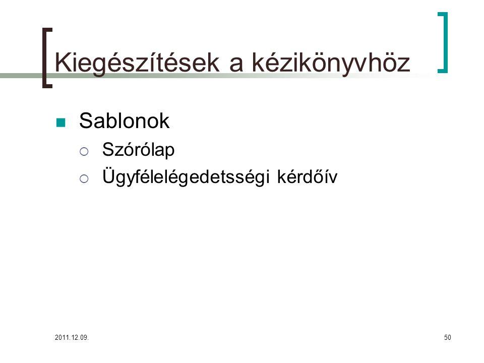 2011.12.09.50 Kiegészítések a kézikönyvhöz Sablonok  Szórólap  Ügyfélelégedetsségi kérdőív