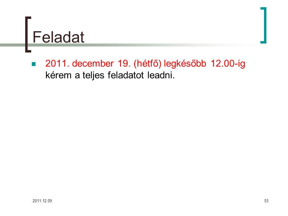 2011.12.09.53 Feladat 2011. december 19. (hétfő) legkésőbb 12.00-ig kérem a teljes feladatot leadni.