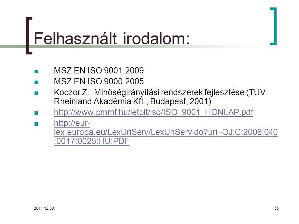 2011.12.09.55 Felhasznált irodalom: MSZ EN ISO 9001:2009 MSZ EN ISO 9000:2005 Koczor Z.: Minőségirányítási rendszerek fejlesztése (TÜV Rheinland Akadé