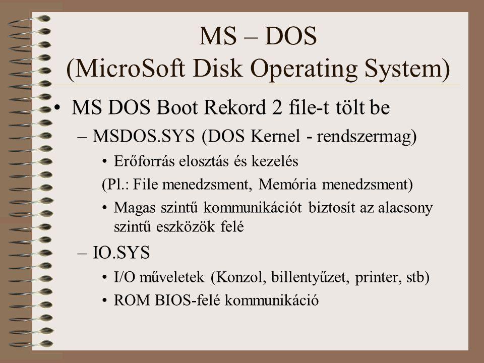 MS – DOS (MicroSoft Disk Operating System) MS DOS Boot Rekord 2 file-t tölt be –MSDOS.SYS (DOS Kernel - rendszermag) Erőforrás elosztás és kezelés (Pl