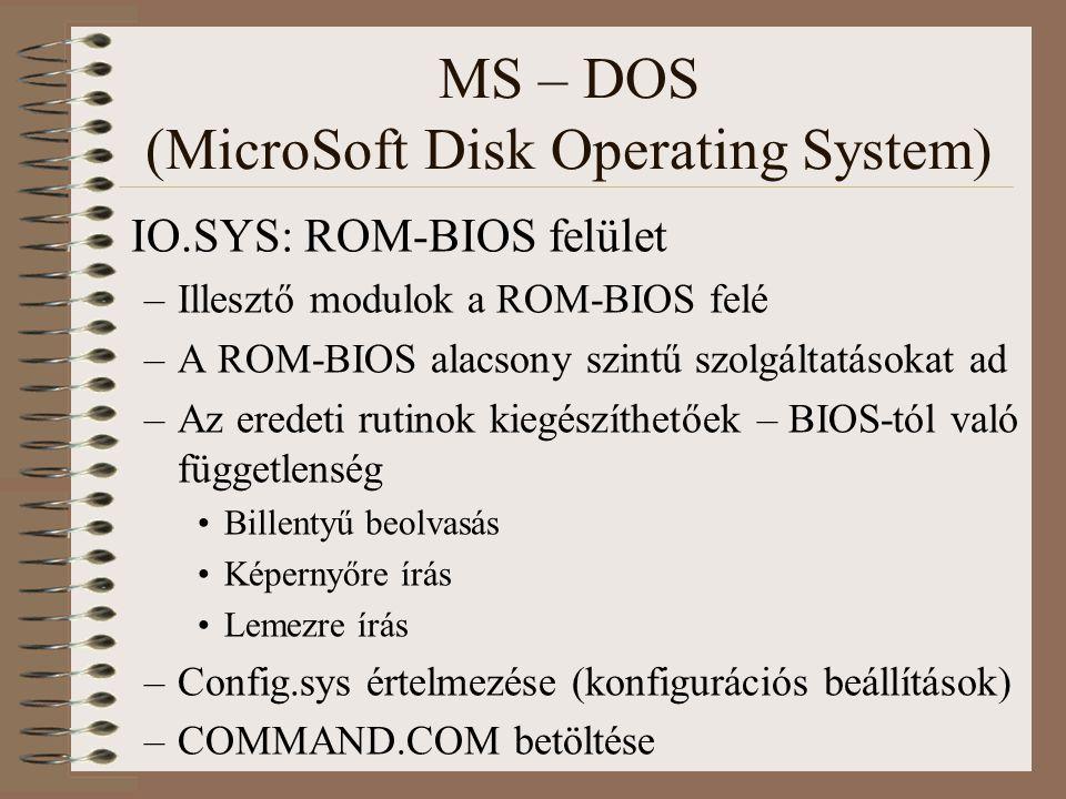 MS – DOS (MicroSoft Disk Operating System) IO.SYS: ROM-BIOS felület –Illesztő modulok a ROM-BIOS felé –A ROM-BIOS alacsony szintű szolgáltatásokat ad