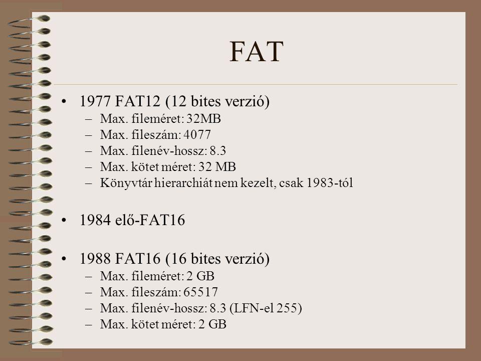 FAT 1977 FAT12 (12 bites verzió) –Max. fileméret: 32MB –Max. fileszám: 4077 –Max. filenév-hossz: 8.3 –Max. kötet méret: 32 MB –Könyvtár hierarchiát ne