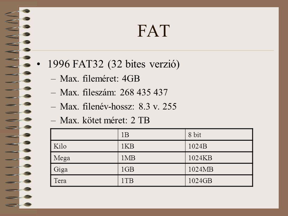 FAT 1996 FAT32 (32 bites verzió) –Max. fileméret: 4GB –Max. fileszám: 268 435 437 –Max. filenév-hossz: 8.3 v. 255 –Max. kötet méret: 2 TB 1B8 bit Kilo