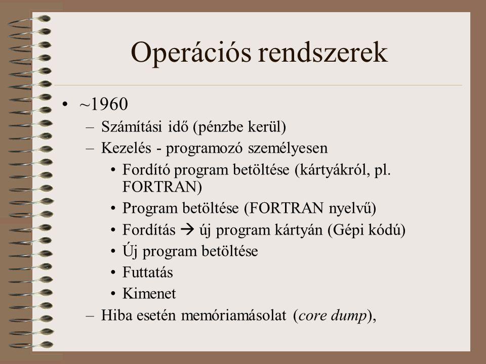 Operációs rendszerek ~1960 –Számítási idő (pénzbe kerül) –Kezelés - programozó személyesen Fordító program betöltése (kártyákról, pl. FORTRAN) Program