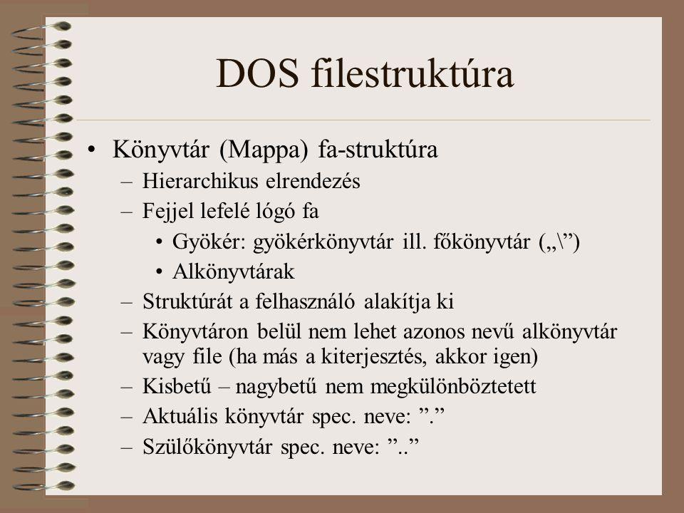 """DOS filestruktúra Könyvtár (Mappa) fa-struktúra –Hierarchikus elrendezés –Fejjel lefelé lógó fa Gyökér: gyökérkönyvtár ill. főkönyvtár (""""\"""") Alkönyvtá"""