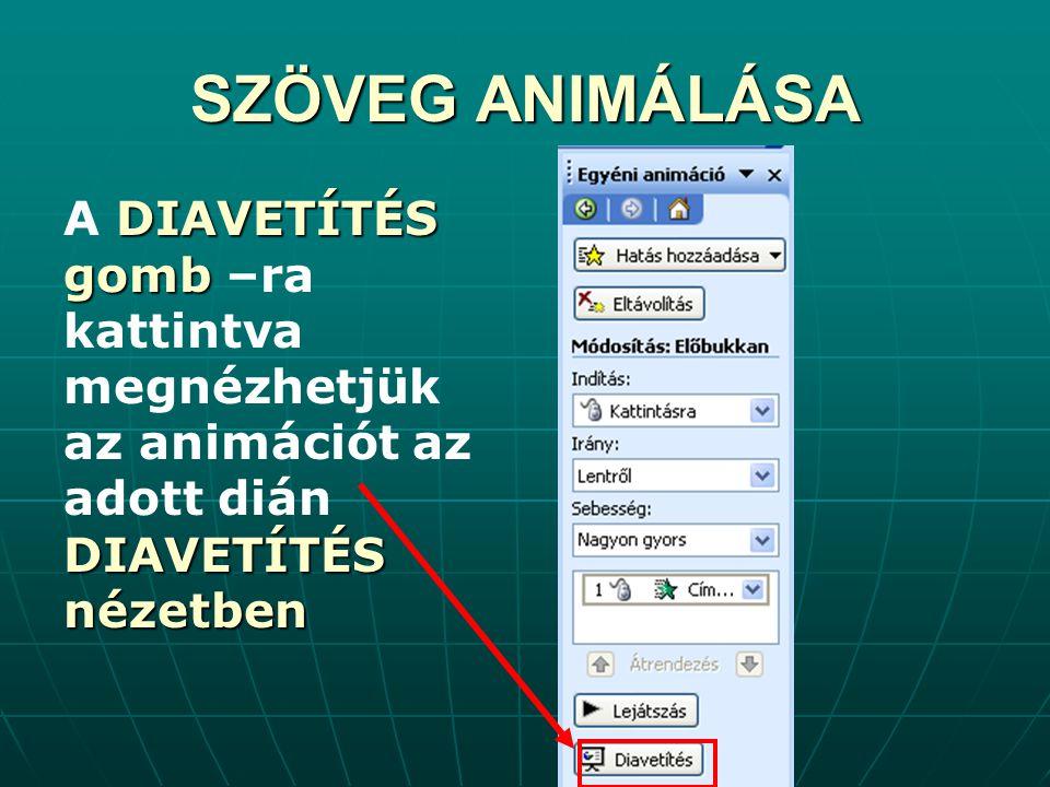 A D DD DIAVETÍTÉS gomb –ra kattintva megnézhetjük az animációt az adott dián DIAVETÍTÉS nézetben