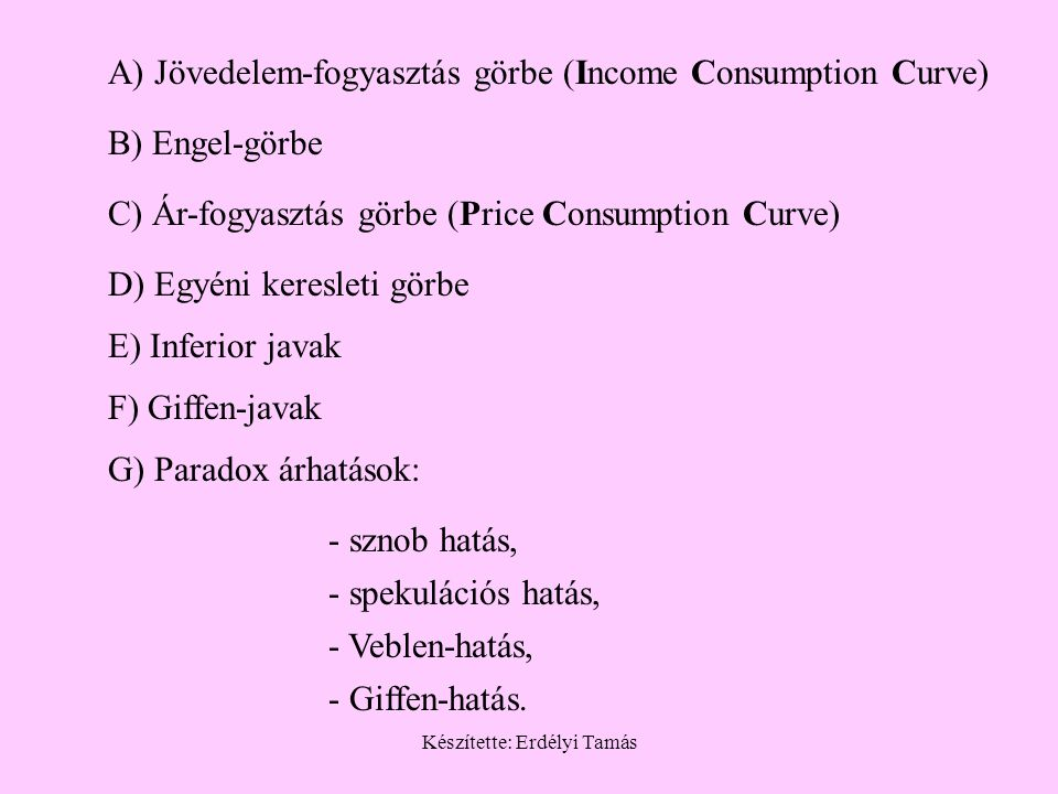 Készítette: Erdélyi Tamás A) Jövedelem-fogyasztás görbe (Income Consumption Curve) B) Engel-görbe C) Ár-fogyasztás görbe (Price Consumption Curve) D)