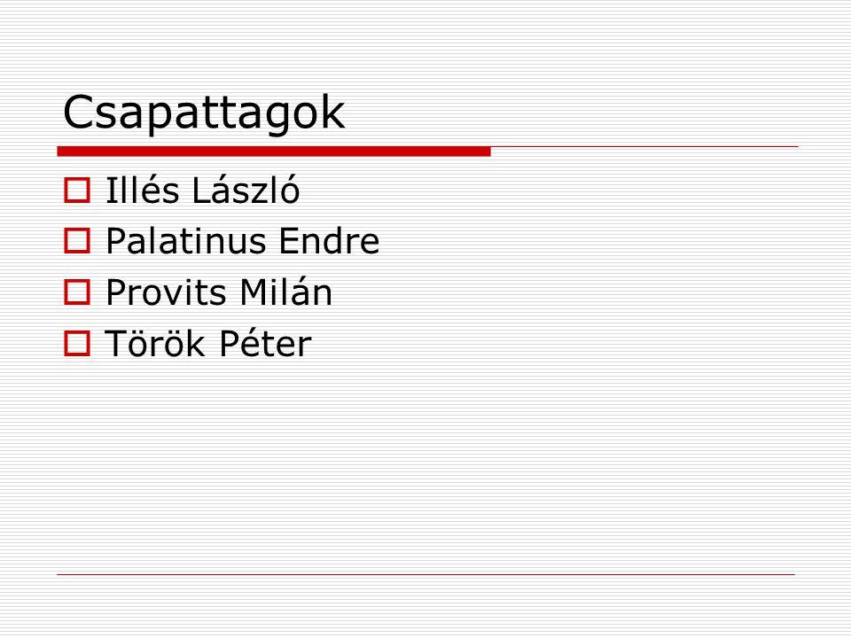 Csapattagok  Illés László  Palatinus Endre  Provits Milán  Török Péter
