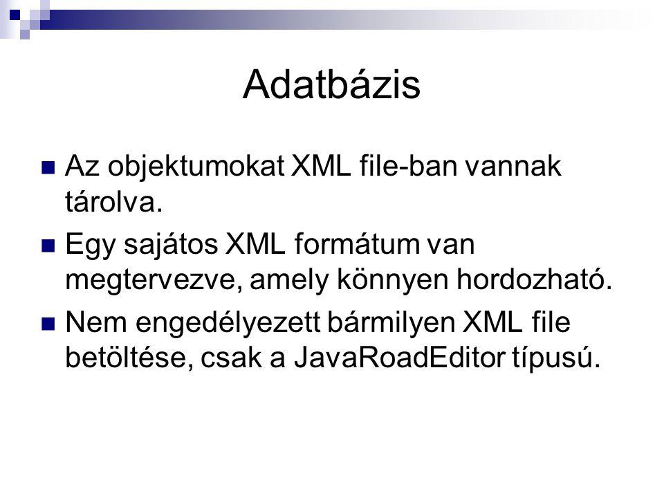 Adatbázis Az objektumokat XML file-ban vannak tárolva.