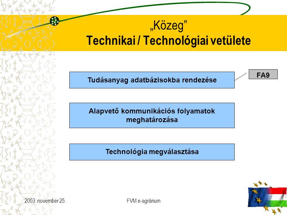 """2003. november 25.FVM e-agrárium10 """"Közeg"""" Technikai / Technológiai vetülete Tudásanyag adatbázisokba rendezése Alapvető kommunikációs folyamatok megh"""