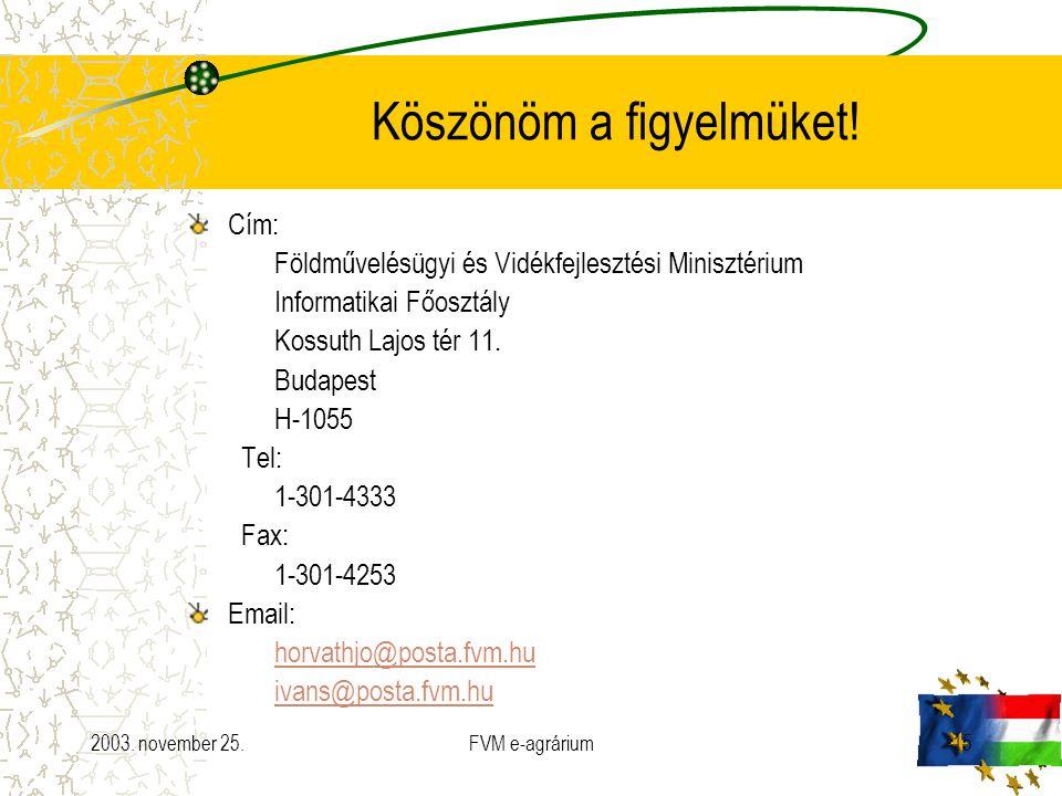 2003. november 25.FVM e-agrárium15 Köszönöm a figyelmüket! Cím: Földművelésügyi és Vidékfejlesztési Minisztérium Informatikai Főosztály Kossuth Lajos