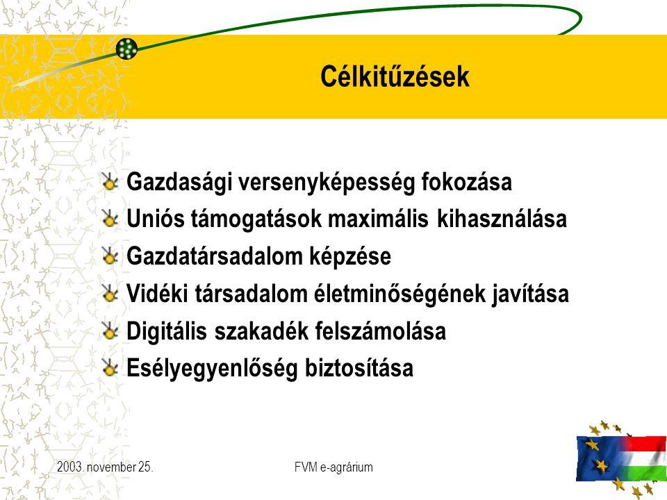 2003. november 25.FVM e-agrárium2 Célkitűzések Gazdasági versenyképesség fokozása Uniós támogatások maximális kihasználása Gazdatársadalom képzése Vid