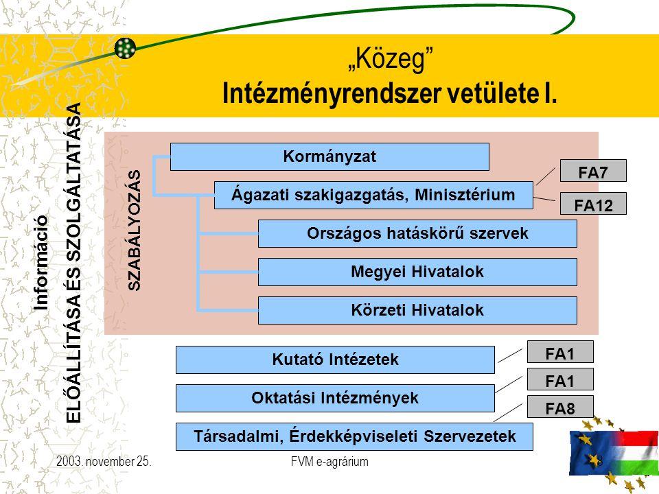 """2003. november 25.FVM e-agrárium8 """"Közeg"""" Intézményrendszer vetülete I. Kormányzat Ágazati szakigazgatás, Minisztérium Országos hatáskörű szervek Megy"""