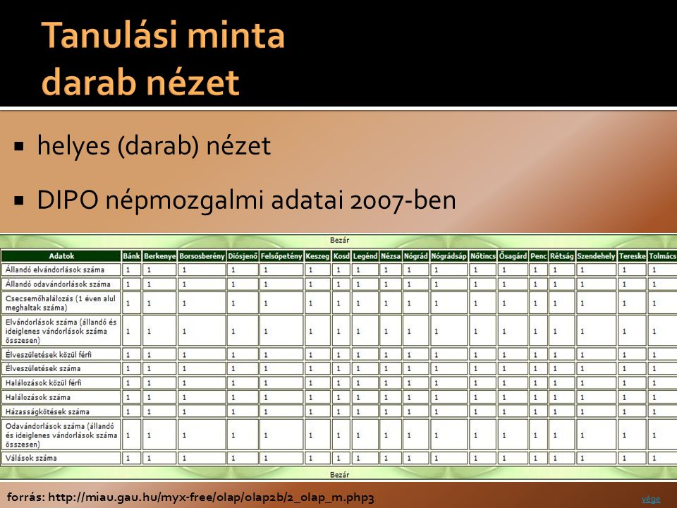  helyes (darab) nézet  DIPO népmozgalmi adatai 2007-ben forrás: http://miau.gau.hu/myx-free/olap/olap2b/2_olap_m.php3 vége