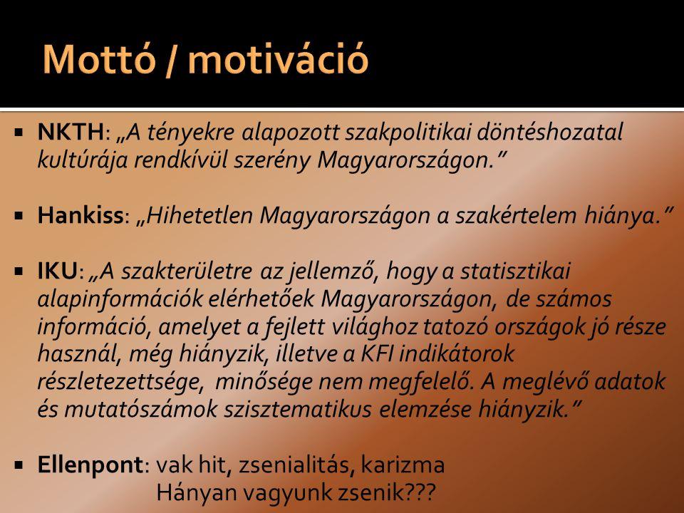 """ NKTH: """"A tényekre alapozott szakpolitikai döntéshozatal kultúrája rendkívül szerény Magyarországon.  Hankiss: """"Hihetetlen Magyarországon a szakértelem hiánya.  IKU: """"A szakterületre az jellemző, hogy a statisztikai alapinformációk elérhetőek Magyarországon, de számos információ, amelyet a fejlett világhoz tatozó országok jó része használ, még hiányzik, illetve a KFI indikátorok részletezettsége, minősége nem megfelelő."""