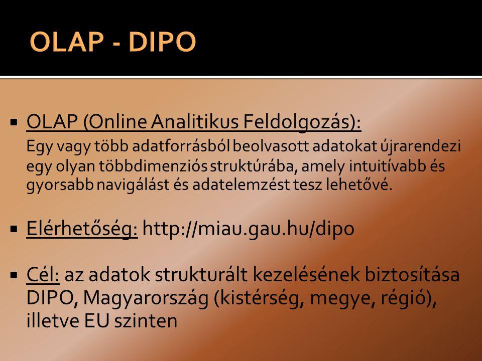  OLAP (Online Analitikus Feldolgozás): Egy vagy több adatforrásból beolvasott adatokat újrarendezi egy olyan többdimenziós struktúrába, amely intuitívabb és gyorsabb navigálást és adatelemzést tesz lehetővé.