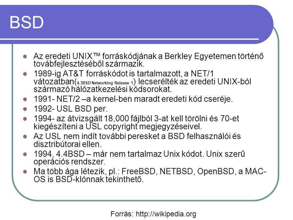 MAC-OS Klasszikus (1984–2001) Eredetileg tisztán grafikus OS (nem volt parancs-sor) Kooperatív multitaszk Egyszerű használat Nehézkes memóriakezelés Mac OS X (2000-től) BSD+MACH kernel (NEXSTEP) alapú PowerPc-processzoron képes a régi MAC-OS alá írt programok futtatásával (MAC-OS-9.1-et futtat) Preemptív mutitaszk Linux és BSD-re írt programok egy része újrafordítás után futtatható rajta 2005-től az Apple Intel processzorokat (is) használ kompatibilitás a klasszikus verziókkal a 10.5-ben megszűnt.