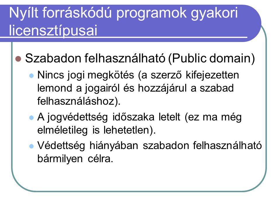 Nyílt forráskódú programok gyakori licensztípusai Szabadon felhasználható (Public domain) Nincs jogi megkötés (a szerző kifejezetten lemond a jogairól és hozzájárul a szabad felhasználáshoz).