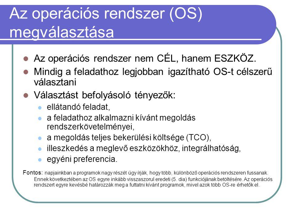 Az operációs rendszer (OS) megválasztása Az operációs rendszer nem CÉL, hanem ESZKÖZ.