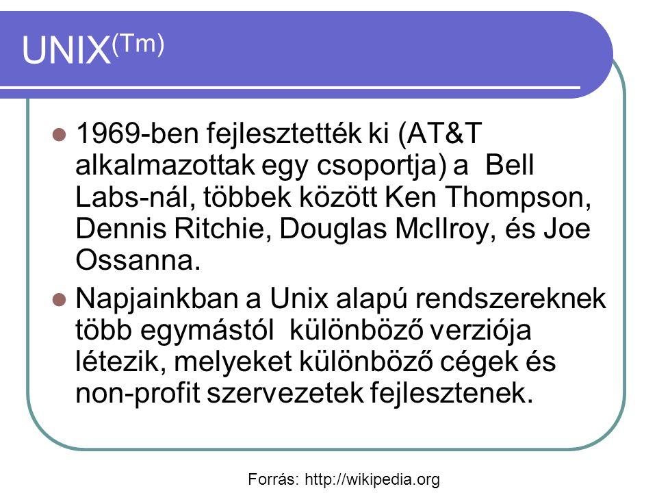 UNIX (Tm) 1969-ben fejlesztették ki (AT&T alkalmazottak egy csoportja) a Bell Labs-nál, többek között Ken Thompson, Dennis Ritchie, Douglas McIlroy, és Joe Ossanna.