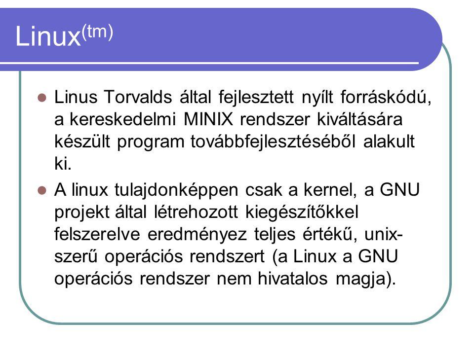 Linux (tm) Linus Torvalds által fejlesztett nyílt forráskódú, a kereskedelmi MINIX rendszer kiváltására készült program továbbfejlesztéséből alakult ki.