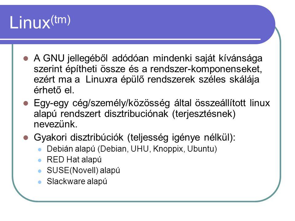 Linux (tm) A GNU jellegéből adódóan mindenki saját kívánsága szerint építheti össze és a rendszer-komponenseket, ezért ma a Linuxra épülő rendszerek széles skálája érhető el.