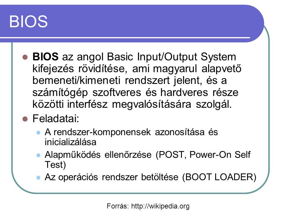 BIOS BIOS az angol Basic Input/Output System kifejezés rövidítése, ami magyarul alapvető bemeneti/kimeneti rendszert jelent, és a számítógép szoftveres és hardveres része közötti interfész megvalósítására szolgál.