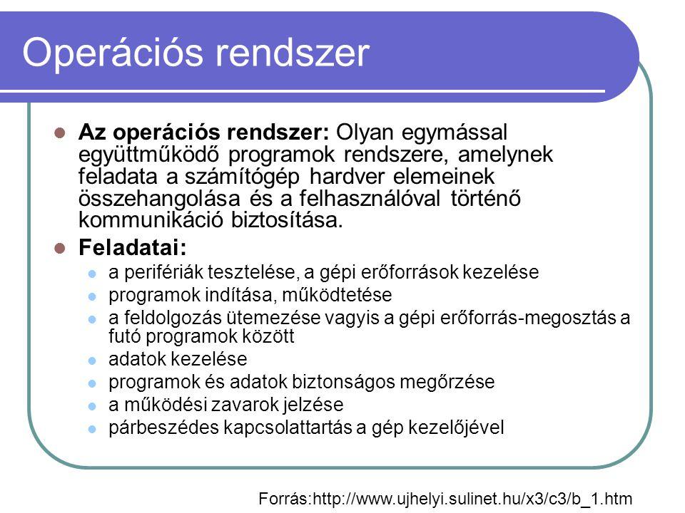 Operációs rendszerek csoportosítása A felhasználók száma alapján Egyfelhasználós Többfelhasználós Az egyidőben futtatható programok száma szerint: monoprogramozott Multiprogramozott (Multitasking, többfeladatos futtatás) Preemptiv multitaszking Kooperatív multitaszking A felhasználói felület alapján: Karakteres Grafikus Hálózati funkciók alapján Egyedülálló (standalone) operációs rendszerek Hálózati funkciókkal rendelkező operációs rendszerek Hálózati (network) operációs rendszerek
