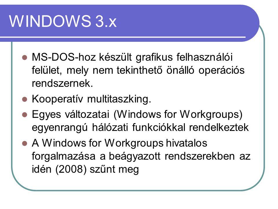 WINDOWS 9x Betöltése során MS-DOS 7.0 (Win95-osr2, Win-98 – 7.1; Win-98ME – 8.0) verziót ad vissza, gyakorlatilag a DOS-t a Windows kernel betöltéséhez használja.