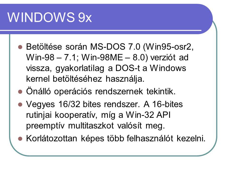 Windows NT alapú operációs rendszerek Windows NT 3.x, 4.x, Windows 2000, Windows XP, Windows Server 2003/2008, Windows Vista A felülete hasonlított a vele párhuzamosan megjelenő Windows verzióra (2000-ig párhuzamosan készült a win3x-9x családdal), de belső architektúrája alapján egy korszerű, mikro-kernel alapú operációs rendszer.