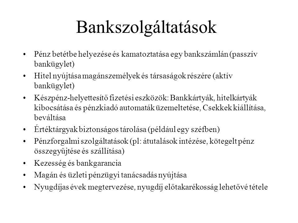 Bankszolgáltatások Pénz betétbe helyezése és kamatoztatása egy bankszámlán (passzív bankügylet) Hitel nyújtása magánszemélyek és társaságok részére (a